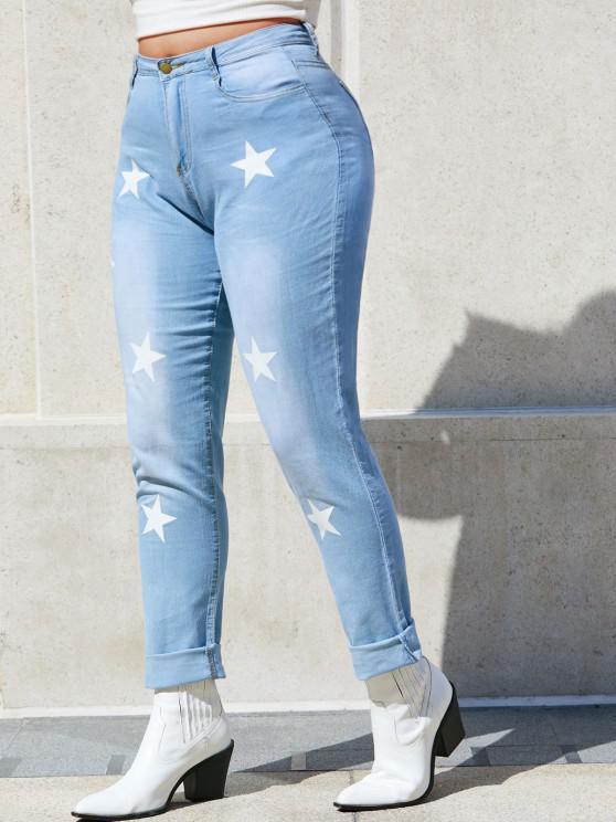 Star Mid Rise Plus Size Skinny Jeans - Hellblau XL