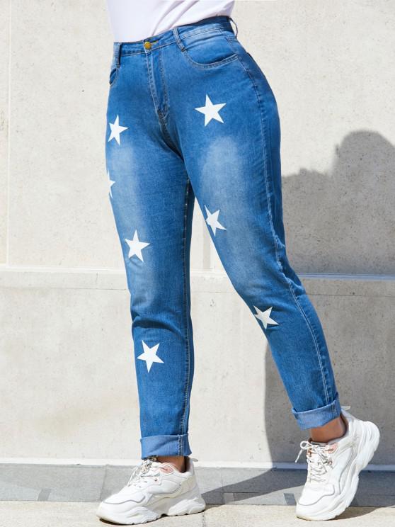 Star Mid Rise Plus Size Skinny Jeans - أزرق 4XL
