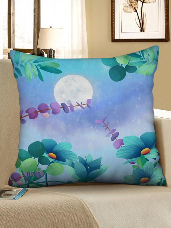 fashion Moon Flower Printed Linen Square Pillowcase - MEDIUM TURQUOISE W18 X L18 INCH