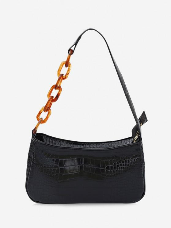 women Chain Splice Strap Shoulder Bag - BLACK