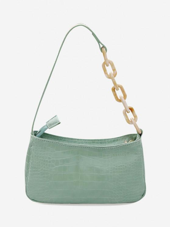 ladies Chain Splice Strap Shoulder Bag - HAZEL GREEN
