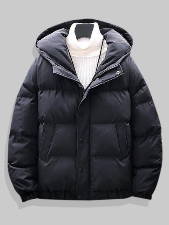 affordable Plain Drop Shoulder Hooded Padded Jacket - BLACK 2XL