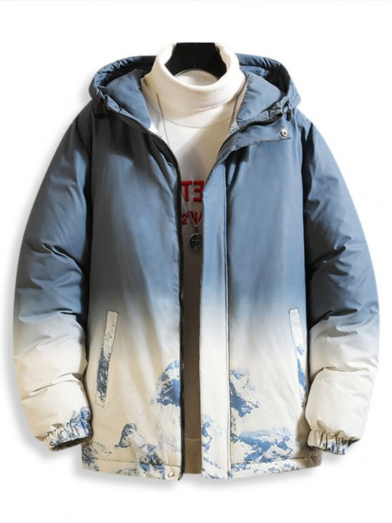 lady Snow Mountain Ombre Print Hooded Padded Jacket - LIGHT BLUE L