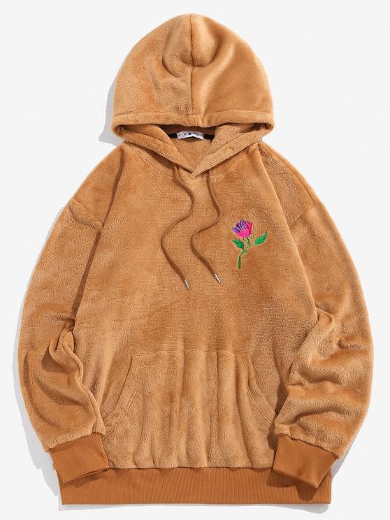 sale ZAFUL Rose Embroidery Fleece Hoodie - COFFEE S