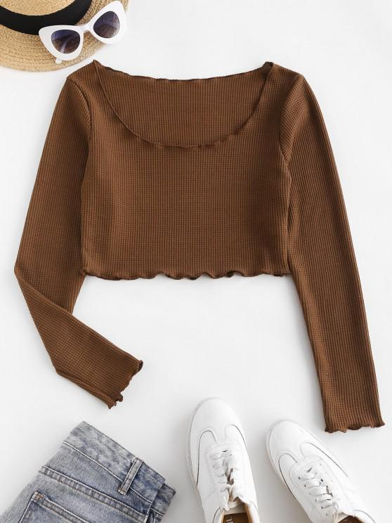 fashion Long Sleeve Textured Knit Lettuce Crop Tee - DEEP COFFEE XL