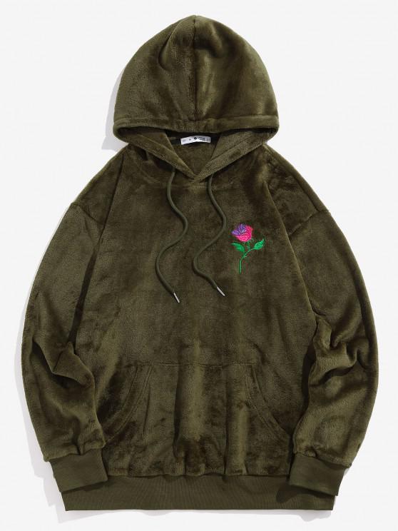 ZAFUL Rose Embroidery Fleece Hoodie - ديب غرين L