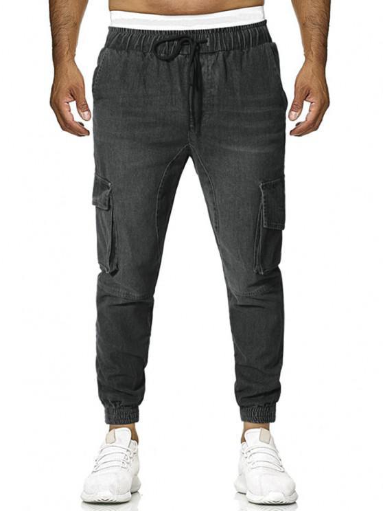 Pantaloni con Tasche con Patta - Grigio XL