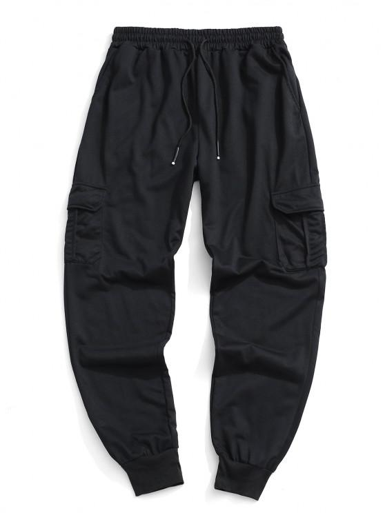 latest Plain Flap Pocket Jogger Sweatpants - BLACK M