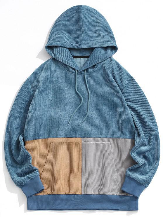 Colorblock Pullover Corduroy Hoodie - أزرق XL