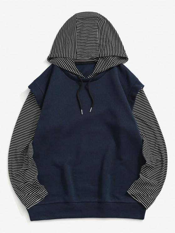 Stripes Fleece Lined Hoodie - ازرق غامق L