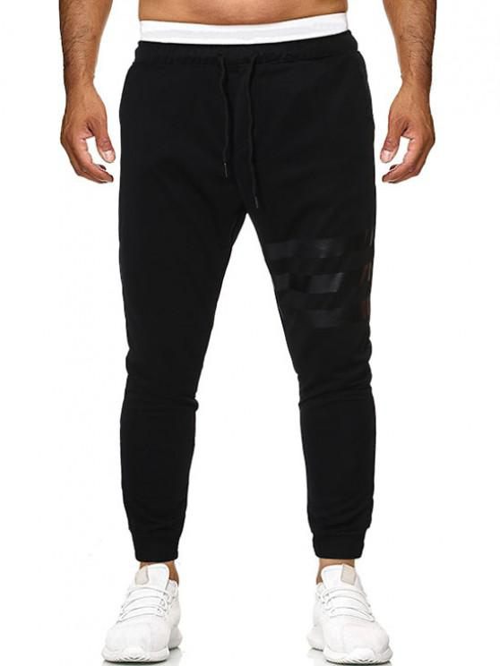 best Drawstring Striped Sports Pants - BLACK S