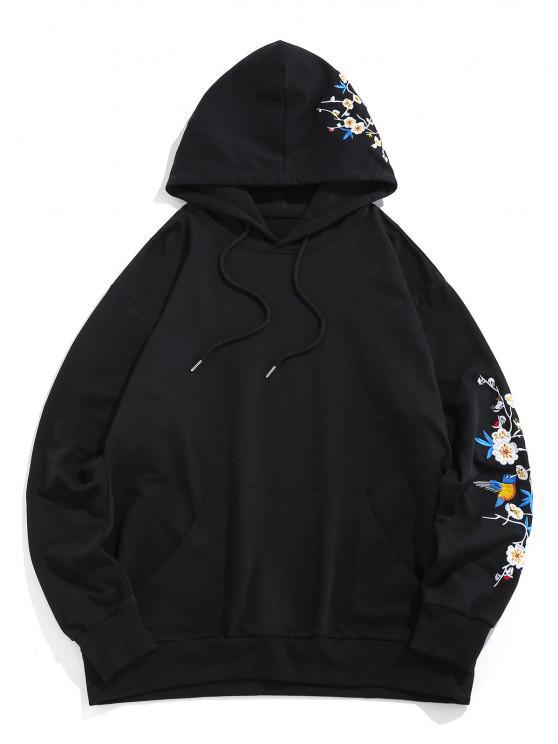 Flower Birds Embroidered Kangaroo Pocket Oriental Hoodie - أسود S