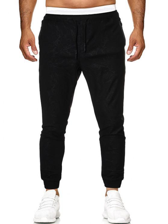 women Drawstring Stitching Detail Jacquard Sports Pants - BLACK M