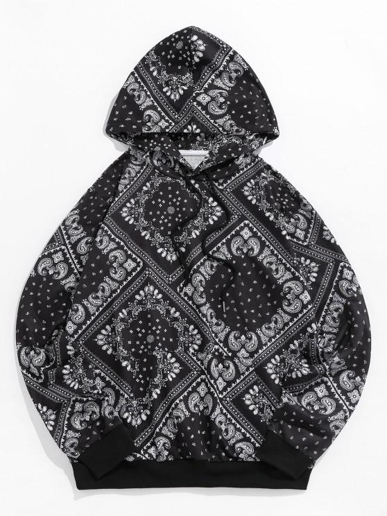 chic ZAFUL Paisley Print Kangaroo Pocket Hoodie - BLACK L