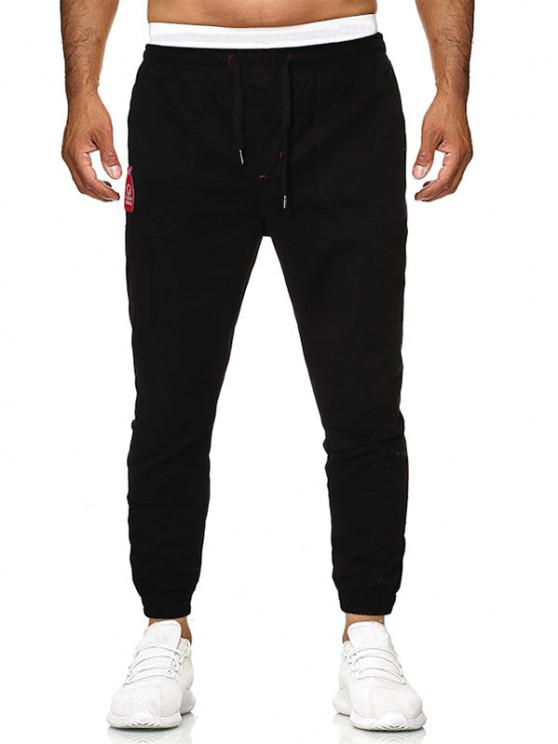 outfits Bottle Embroidery Patch Beam Feet Pants - BLACK 2XL