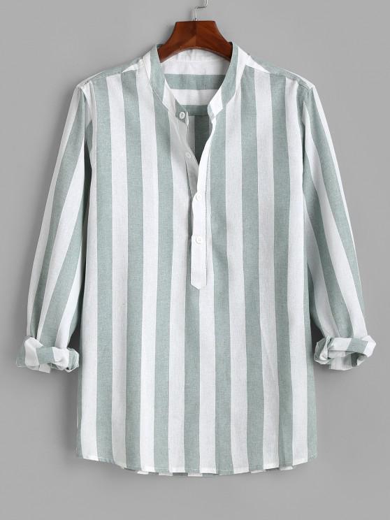 fashion Color Blocking Stripes Half Button Shirt - GREEN M