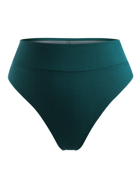 ZAFUL Plus Size Ribbed Cheeky Bikini Bottom - ديب غرين XL