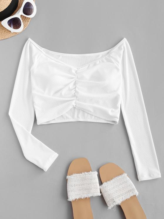 unique ZAFUL Ribbed Off Shoulder Ruched Cropped Swim Top - WHITE L