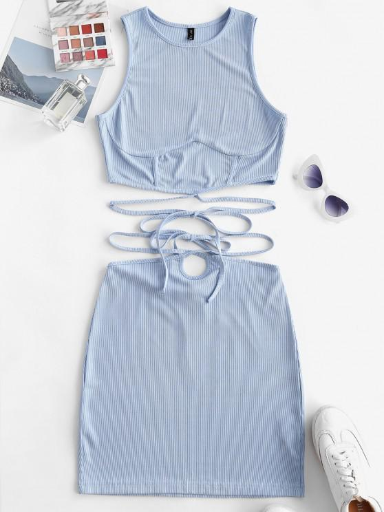 best ZAFUL Ribbed Strap Tie Racerback Two Piece Skirt Set - LIGHT BLUE S