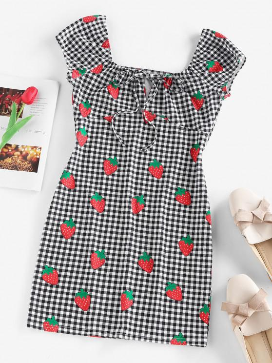 best ZAFUL Gingham Strawberry Tied Fitted Dress - BLACK M