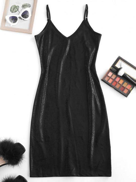 ladies Metallic Cami Bodycon Dress - BLACK M