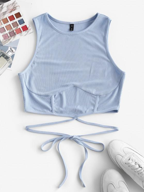 trendy ZAFUL Ribbed Strap Tie Racerback Crop Tank Top - LIGHT BLUE S