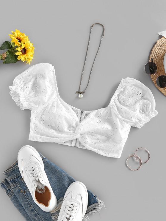 ZAFUL Broderie Anglaise Twist Zip Puff Sleeve Blouse - أبيض XL