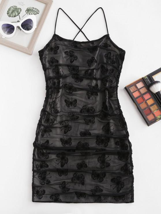 Vestido Bodycon com impresso de borboleta - Preto S