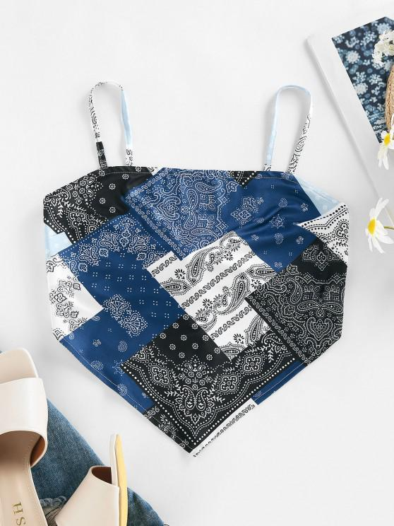 unique ZAFUL Bohemian Paisley Tie Back Cami Bandana Top - BLUE M