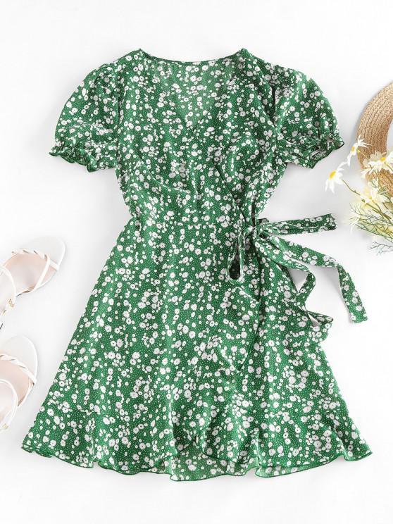 sale ZAFUL Ditsy Print Puff Sleeve Ruffle Belted Dress - GREEN S