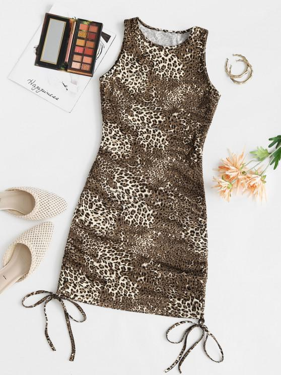 Leopard Cinched Tie Fitted Tank Dress - قهوة M