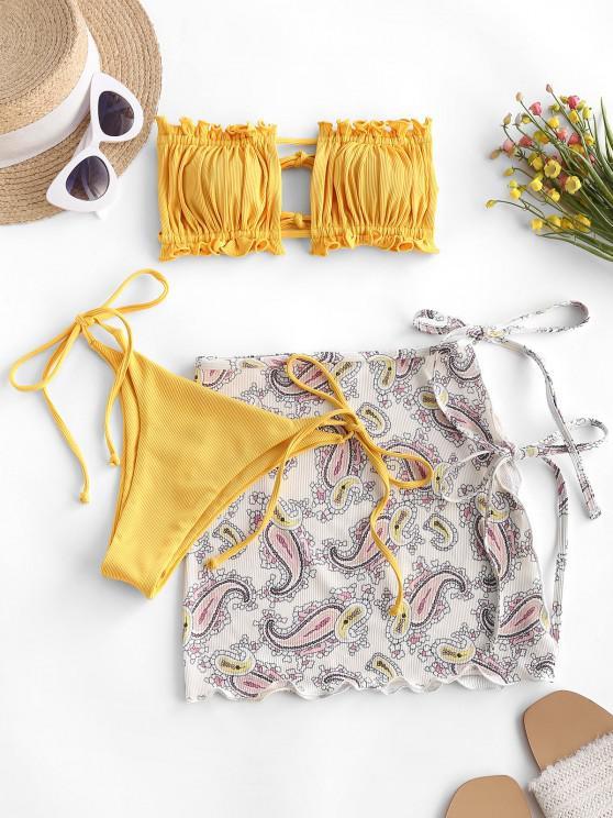 trendy ZAFUL Ribbed Paisley Bandeau Ruffle Tie Side Three Piece Bikini Swimwear - YELLOW M