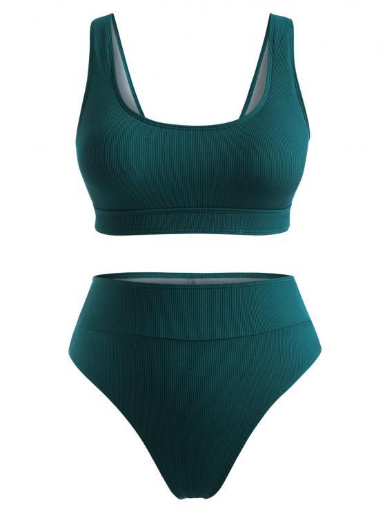 ZAFUL Übergröße Gerippte Hoch Geschnittene Bikini Badebekleidung - Dunkelgrün XL