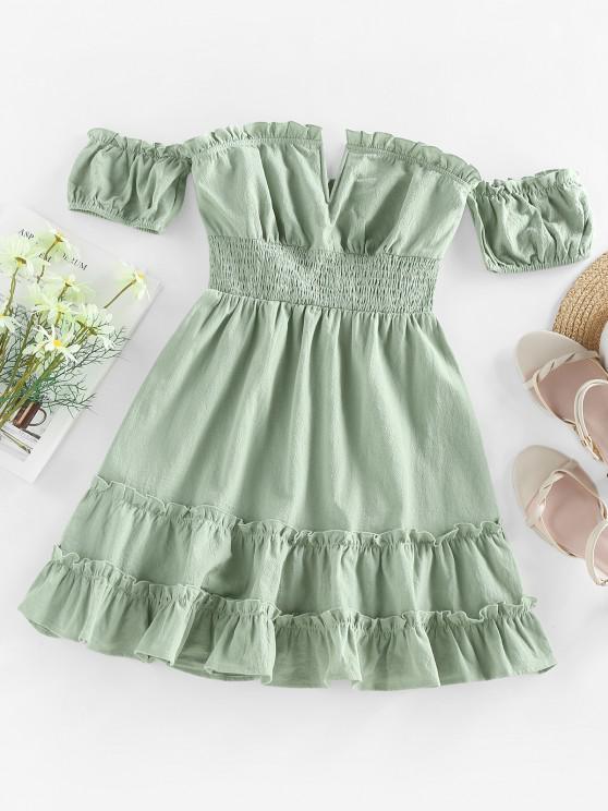 affordable ZAFUL Off Shoulder V Wired Ruffled Smocked Dress - LIGHT GREEN S