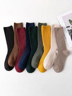 9 Pairs Ribbed Cotton Crew Socks Set - Multi