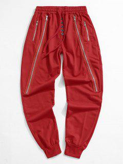 Button Zipper Embellished Jogger Sweatpants - Red L