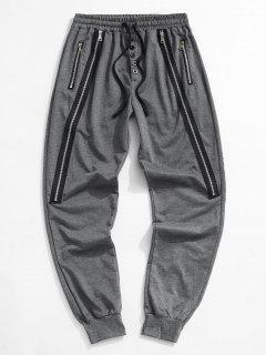 Pantalon De Jogging Embelli De Bouton Zippé - Gris Foncé 2xl