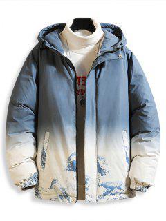 Giacca Imbottita Con Cappuccio E Stampa Sfumata E Montagna Di Neve - Azzurro S