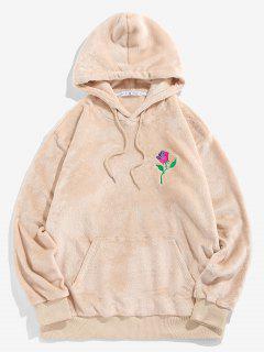 ZAFUL Rose Embroidery Fleece Hoodie - Light Yellow 2xl