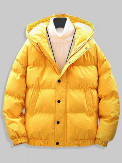 Plain Drop Shoulder Hooded Padded Jacket - Yellow M