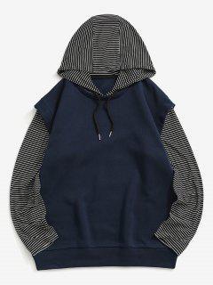 Stripes Fleece Lined Hoodie - Deep Blue Xl