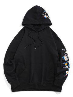 Flower Birds Embroidered Kangaroo Pocket Oriental Hoodie - Black S