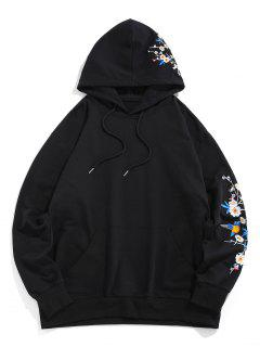 Flower Birds Embroidered Kangaroo Pocket Oriental Hoodie - Black M