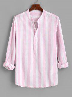 Color Blocking Stripes Half Button Shirt - Light Pink L
