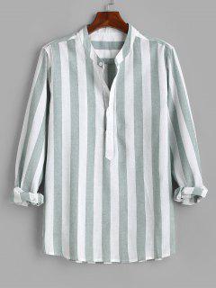 Color Blocking Stripes Half Button Shirt - Green L
