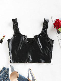 ZAFUL Notch Faux Leather Cropped Tank Top - Black Xl