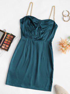 Chain Straps Corset Detail Satin Slinky Bustier Dress - Deep Blue M
