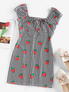 ZAFUL Gingham Strawberry Tied Fitted Dress - Black S