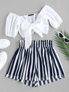ZAFUL Tied Crop Top And Stripe Paperbag Shorts Set - Deep Blue S