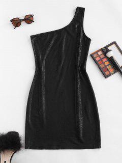 Mini Vestido Ceñido Metálico Con Un Hombro - Negro S